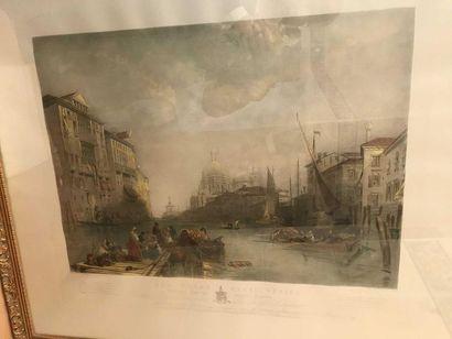 Le grand canal de Venise, gravure en couleur,...