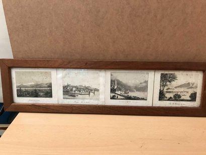 Quatre lithographies dans un encadrement...