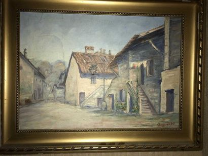 Rue de village Huile sur toile Signé en bas...