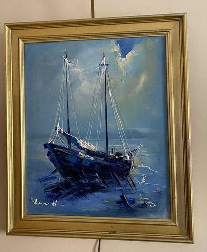 Lucien DESMEDT (1919-1993) Le voilier Huile...