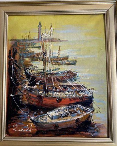 Lucien DESMEDT (1919-1993) Le port Huile...
