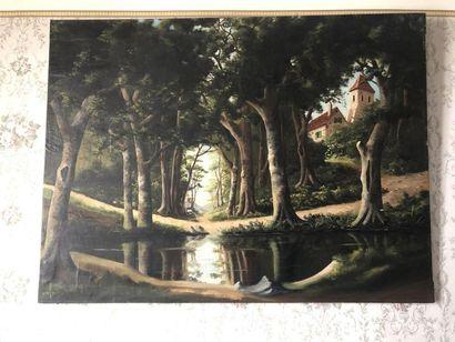 André D'IVRY  Paysage de sous-bois