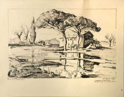 Paul BACH (1906-1971)  Mas en camargue  Encre...