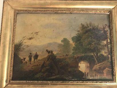 Ecole française du XIXème siècle Berger dans...