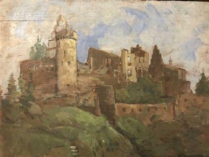 DELAMARRE DE MONCHAUX  Paysage au chateau...