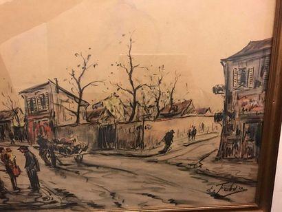 FEBVRE (XIXè - XXè)  Scène de village animée,...