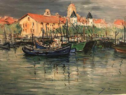 Joseph CROZES  Le port de Saint Jean de Luz...