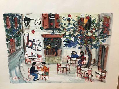 PITO (1924-2000) Bar de l'univers, 1973 Gouache...