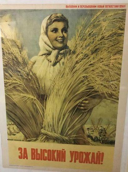 Affiche Russe La bonne récolte de blé 72x54cm...