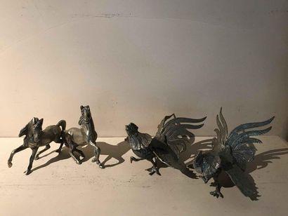 Paire de coqs de bruyère et paire de chevaux...