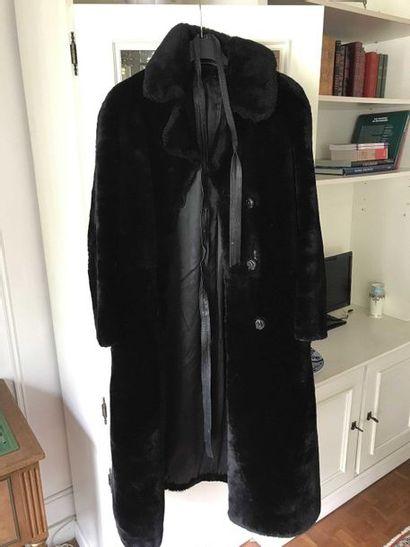Dark shaved mink coat (acc) and leather belt...