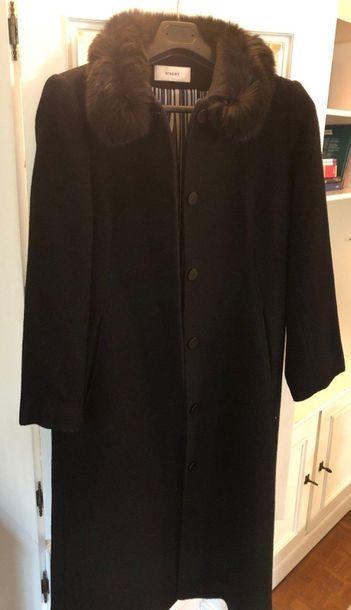 Black wool coat with mink collar Ref16em...