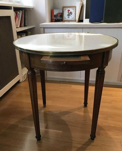 Mahogany pedestal table with inlaid white...