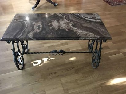 Coffee table with marble top and wrought...