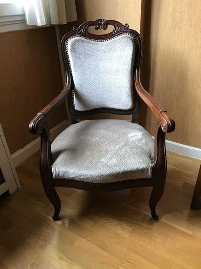 Moulded mahogany armchair, openwork leafy...