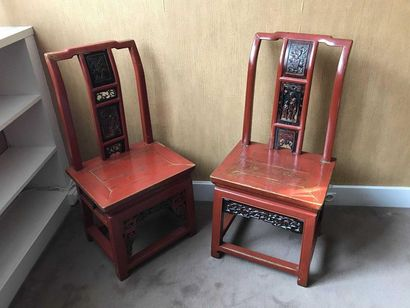 Chinese style furniture set in red and black...