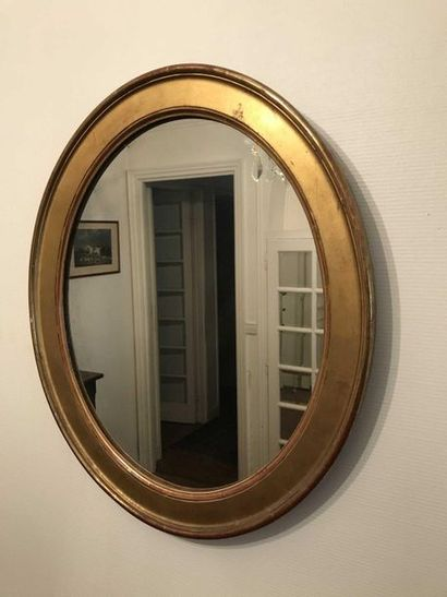 Oval mirror in gilded wood 55 x 47 cm Re...
