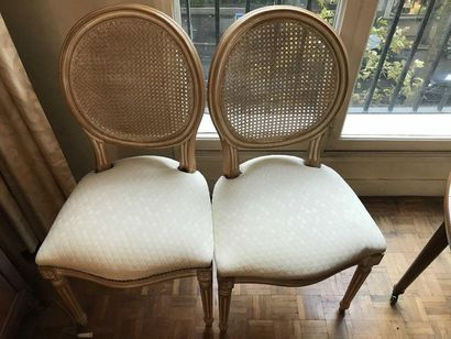 Suite of 6 caned chairs in lacquered wood...