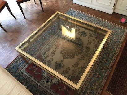 Large gilded metal coffee table with one...