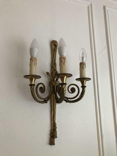 Pair of ormolu sconces with three scrolling...