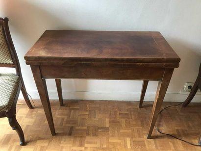 Mahogany gaming table, covered legs, felt...