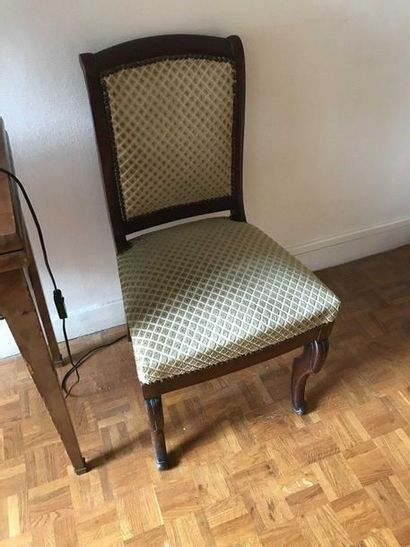 Pair of mahogany chair with front legs console...