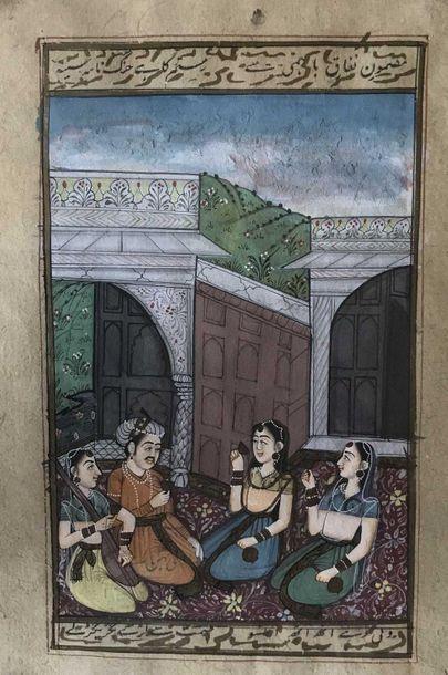 Miniature Persane Scène dans un palais 18x12.5cm...