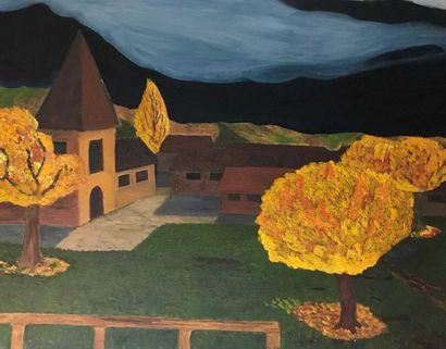 Eric B, Ecole moderne Paysage à l'église...