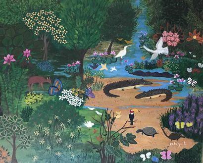 Abigail DANTAS Scène Ecologia Huile sur toile...