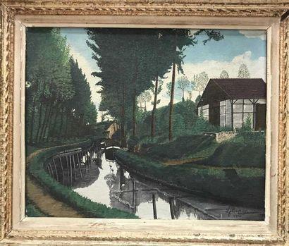 Louis FLORQUIN (1880-1961) Paysage au fleuve...