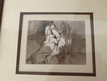 A DELMAY Chevaux Lithographie en noir 15...