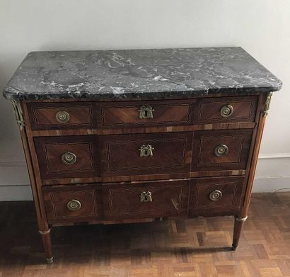 Inlaid veneer chest of drawers opening by...