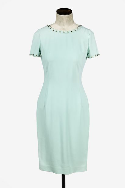 VERSACE : robe droite en acétate vert pastel,...