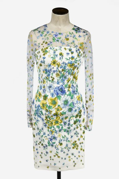 VERSACE : robe droite en viscose blanc à...