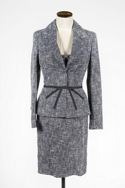 ESCADA : tailleur en laine chinée noir et...