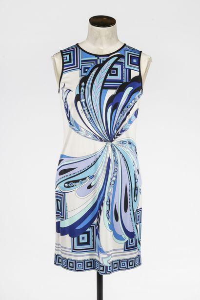 EMILIO PUCCI : robe en soie blanche à décor...
