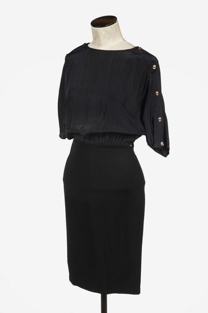 VERSACE : robe de cocktail en viscose noire,...