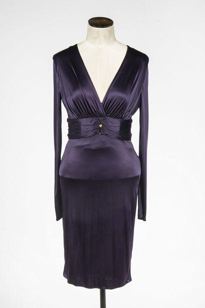 VERSACE: robe de soirée en viscose violine,...