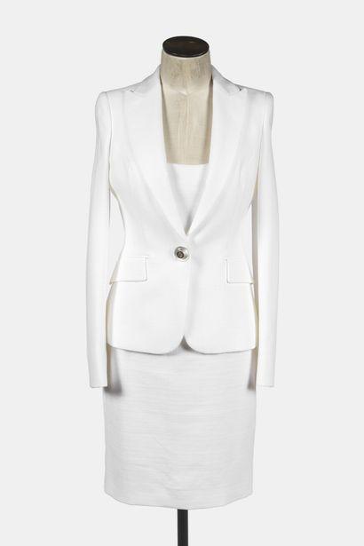 VERSACE: tailleur de cocktail en coton blanc...