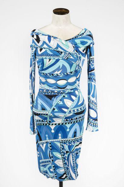 EMILIO PUCCI : robe en viscose à motifs stylisés...