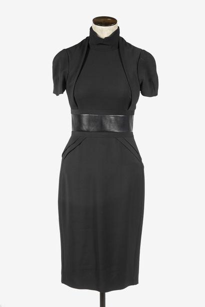 GUCCI : robe de cocktail en viscose noire,...
