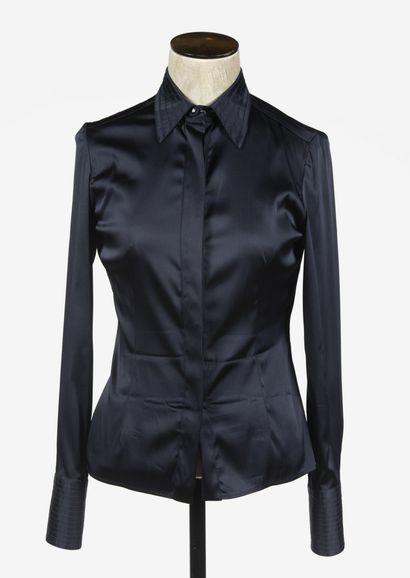 VERSACE: chemise en viscose noire, boutonnage...
