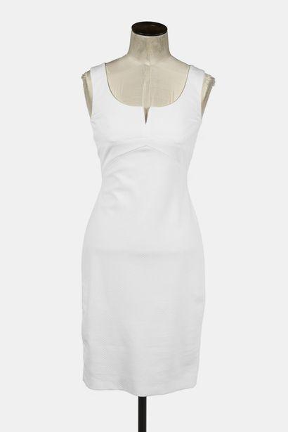 VERSACE : robe droite sans manche, en coton...
