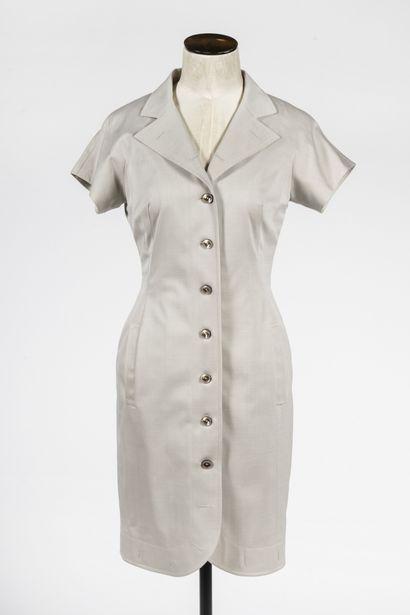 ESCADA : robe manteau en lin beige à manches...