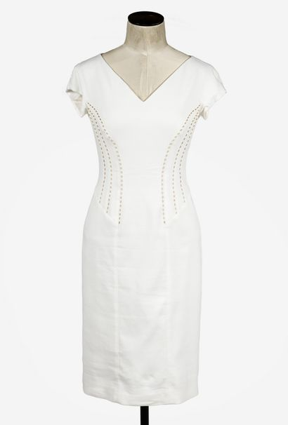 ESACADA : robe en viscose crème , décolleté...
