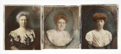 Ensemble de trois portraits de femme sur...