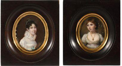 18. Lot comprenant : deux portraits, miniatures...
