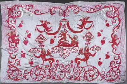 Rideau de scène à décor de paillettes rouges...