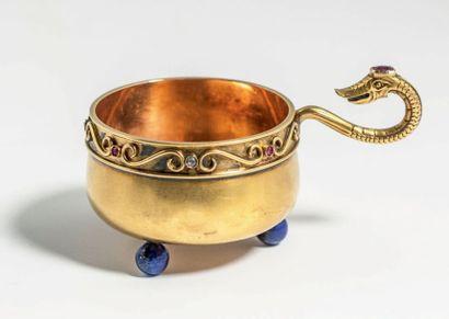 TILLANDER Précieuse charka en or jaune500 millièmes de style scandinave, à décor...