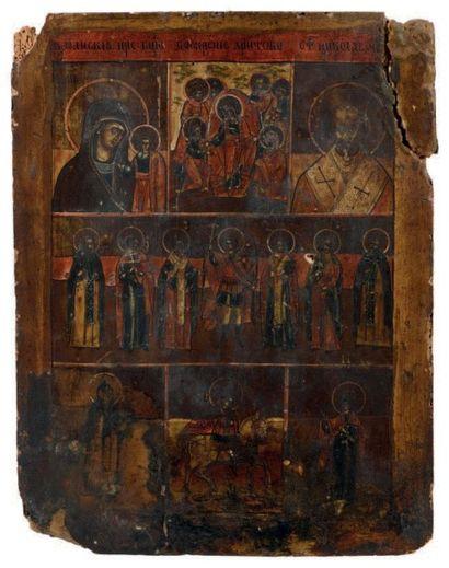 Icône décorée de 7 scènes peintes, dont sur...